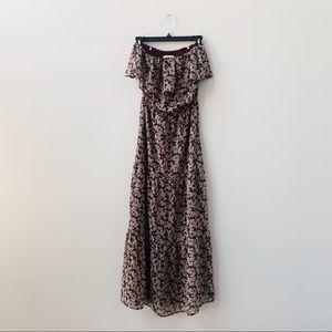 JOA Los Angeles Off Shoulder Floral Maxi Dress